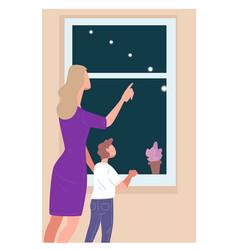 Mom showing milky way in sky to kid vector