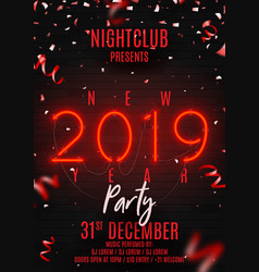 Neon flyer for happy new year party vector