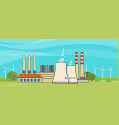 nuclear power plant in flat style vector image vector image