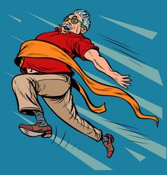 old man grandpa runs finish line win vector image