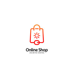 Online shop logo outline monoline vector