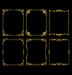 ornate golden frames set over black vector image vector image