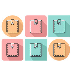 outlined icon of wallet with parallel and not vector image