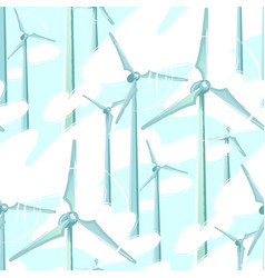 Pattern of spinning wind turbines in the vector