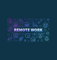 Remote work colorful horizontal line vector