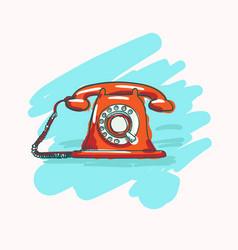 retro telephone set in vector image