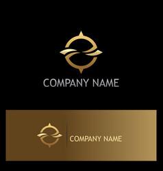 Round abstract gold company logo vector