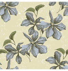 Seamless ornament wih hand drawn clematis flowers vector