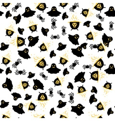 Seamless Pattern with Spider Ghost and Cauldron vector image vector image