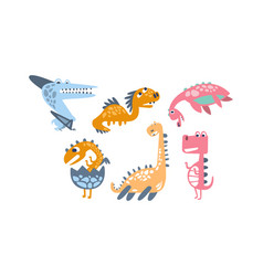 set cartoon dinosaurs on a vector image