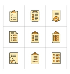 Set color line icons of checklist vector image