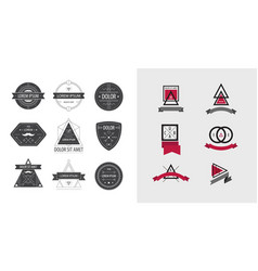 set of geometric abstract logos badges vector image