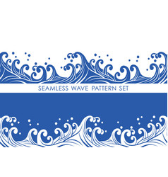 set of two japanese seamless wave patterns vector image