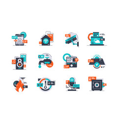 set smart home icons using remote control system vector image