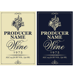 set wine labels with hand drawn bunch grapes vector image