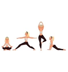 Set with beautiful woman in various poses of yoga vector