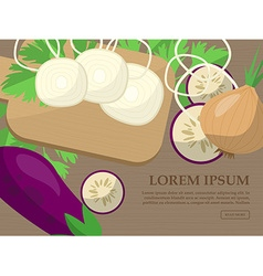 Set with onions eggplant parsley and kitchen vector image
