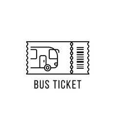 Simple black thin line bus ticket logo vector