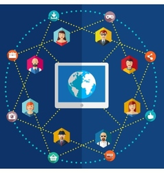 Social network flat with avatars vector image