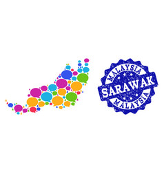 Social network map of malaysian sarawak with chat vector