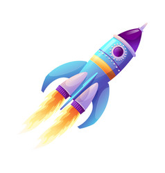 Space ship launch rocket with fire trace and smoke vector