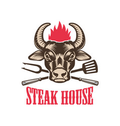 Steak house emblem template with bull head design vector