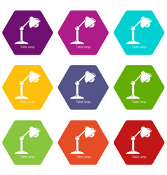table lamp icons set 9 vector image