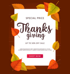 Thanks giving sale poster special price off vector