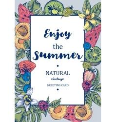 Tropical Summer Exotic Menu Fruits Card vector