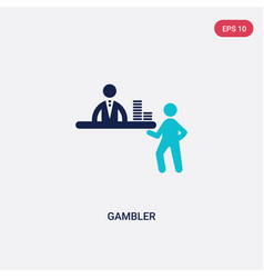 two color gambler icon from entertainment concept vector image