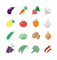 Vegetables icons flat set with potatoes broccoli vector image