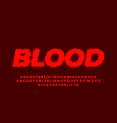 Vintage or retro red blood text effect or font vector