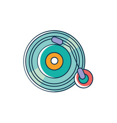 Vinyl lp record melody sound music line and fill vector