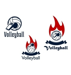 Volleyball balls whistles and flames vector