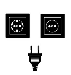 wall socket and plug isolated icons vector image