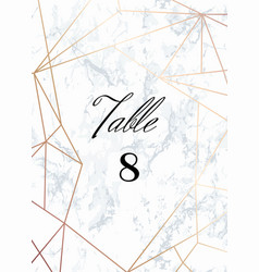 Wedding template tented table numbers card vector