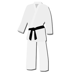 White kimono with black belt vector