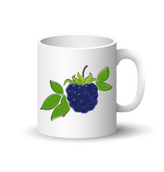 White mug with blackberry vector