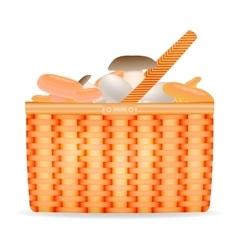 Wicker basket with mushrooms vector image