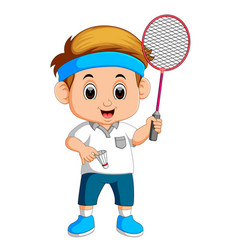 Young boy playing badminton vector