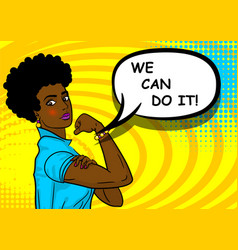 black african-american woman we can do it vector image