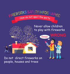 fireworks safety infographic children with rocket vector image