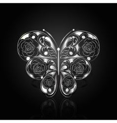 Silver abstract butterfly on black background vector image vector image