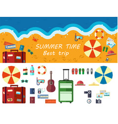 summer time traveling beach rest vector image vector image