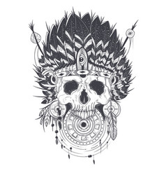 a human skull in an indian vector image vector image