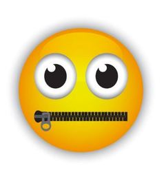 emoticon with a mouth fastened with a zipper vector image vector image
