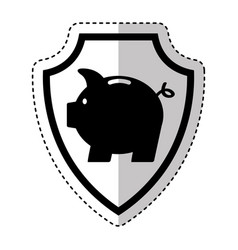 shield insurance with piggy isolated icon vector image vector image