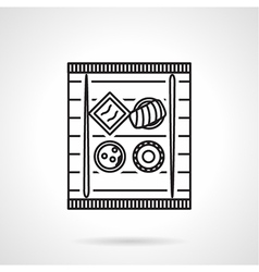 Sushi tray black line icon vector image vector image