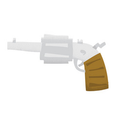 cartoon style grunge revolver gun isolated vector image