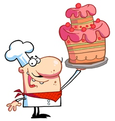Chef Holding Up A Masterpiece Layered Cake vector image
